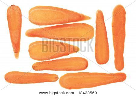Carrot Slices Arrranged In A Pattern.