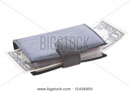 black closed full leather wallet isolated