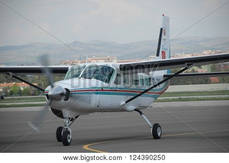 ANKARA/TURKEY-MAY 6, 2012: Cessna 206 Caravan aircraft at the Turkish Air Association-THK's Etimesgut Airport during the Air fest. May 6, 2012-Ankara/Turkey