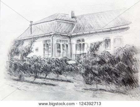 pencil drawning of a house with wine garten in the front
