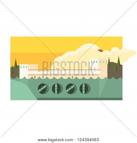 Alternative Energy Hydropower Flat Vector Illustration In Simplified Style