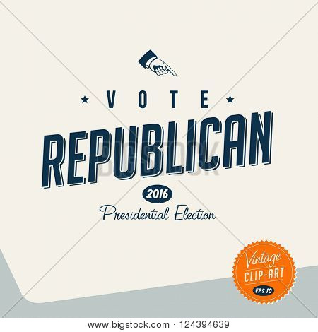 Vintage style Clip Art - Vote Republican - Vector EPS10.