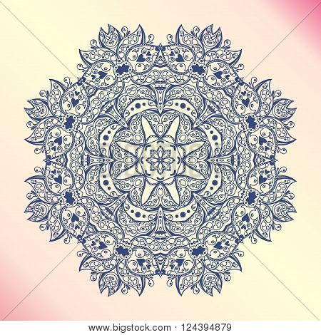 Mandala. Floral vintage round amulet. Indian Arabic Buddhist medallion. It can be used for tattoo prints on t-shirts design and ad restaurants wedding cards poster
