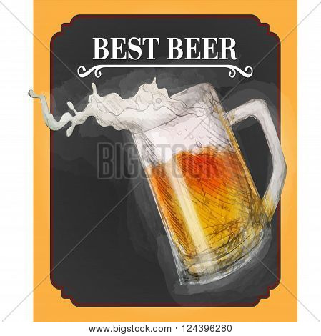 Pastel art of glass of beer with spillaged foam
