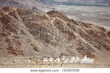 Buddhistic stupas (chorten) in the Himalayas, Ladakh, Jammu & Kashmir, India