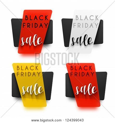 Black Friday. Emblem Black Friday . Black Label . Sticker campaign for shops . Design element . Vector sale. Realistic sticker in 3D.