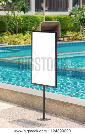 Empty Of Sign Standing Near A Swimming Pool