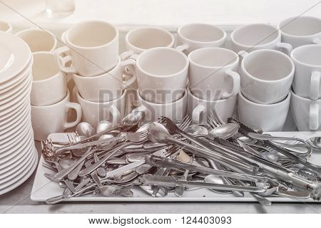 Dirty Of Dish And Kitchenware Waiting For Wash