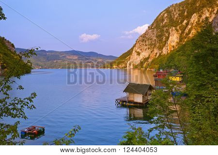 River Drina - national nature park in Serbia - travel background poster
