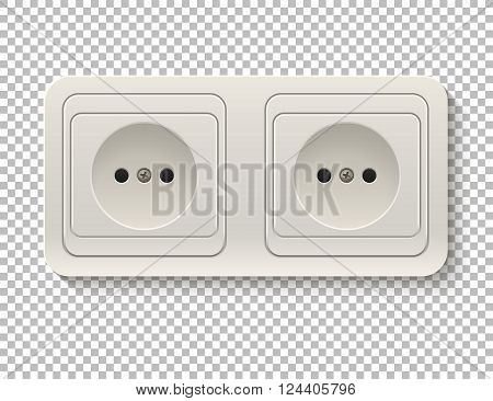 Realistic plastic power socket isolated on a transparent background. Vector EPS10 illustration.