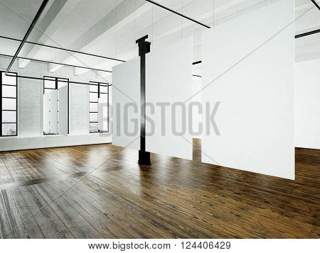 Photo loft expo interior in modern building.Open space studio.Empty white canvas hanging.Wood floor, bricks wall, panoramic windows.Blank frames ready for bussiness information.Horizontal. 3D rendering