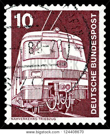 STAVROPOL RUSSIA - APRIL 04 2016: a stamp printed by Germany shows Elektric Train series Industry and Technology circa 1975