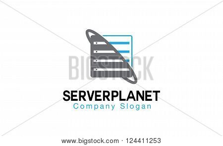 Server Planet Creative And Symbolic Logo Design Illustration