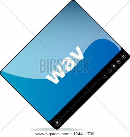 wav on media player interface, business concept