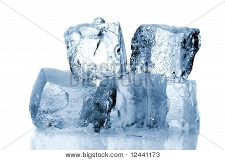 Ice cubes isolated on a white background poster
