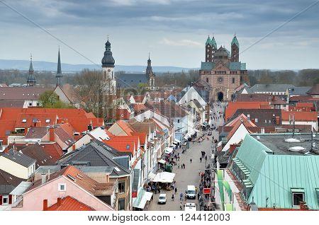 SPEYER, GERMANY - APRIL 11, 2015. Panorama of Speyer pedestrian street. Rheinland-Pfalz Germany on April 2015.