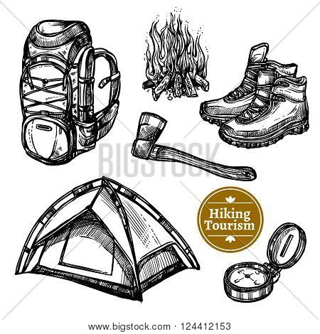 Black and white sketch tourism camping hiking set with backpack campfire shoes ax tent isolated vector illustration