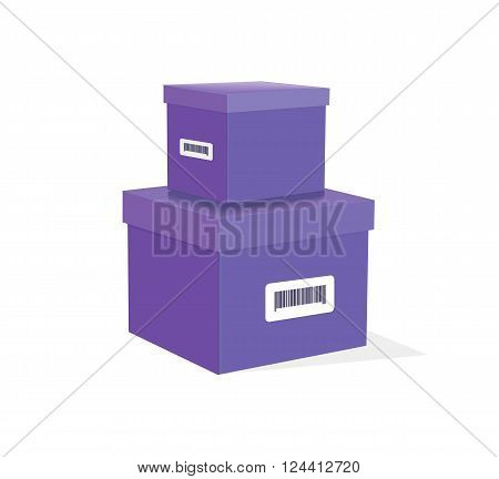 Packing product icon design style. Packing boxes, lilac box delivery, package service, transportation parcel, deliver container, receive pack, send and logistic isolated vector illustration