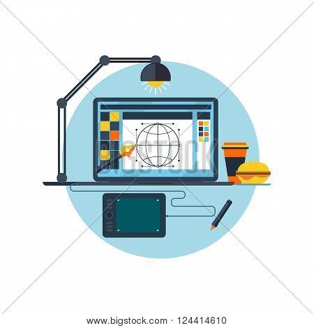 Design graphic work space flat. Graphic design workplace, technology and web design, graphic design studio, graphic elements, workplace design and computer drawing, digital vector illustration