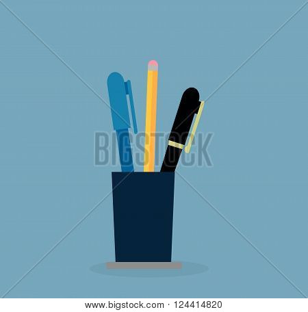 Cup with pen and pencil. Education concept. Office, school education, stationery writing tool, pencil in container, pen basket, elementary instrument vector illustration