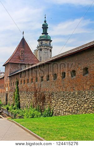 Lviv Bernardine Cathedral with city wall. Bernardine church and monastery located in Old Town of Lviv south of Market square, Ukraine