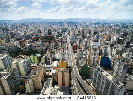 Aerial View of Minhocao Street, Sao Paulo, Brazil