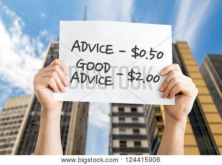Advice - 0.50 / Good Advice - 2.00 placard with urban background