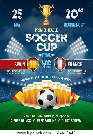 Poster with Soccer Ball and Beer on Stadium. Soccer Cup Advertising. Sport Event Announcement. Place Your Text and Emblem of Participants. Vector Illustration.