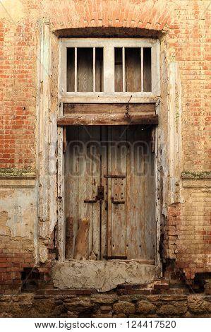 Single Wooden Door in Old City Wall