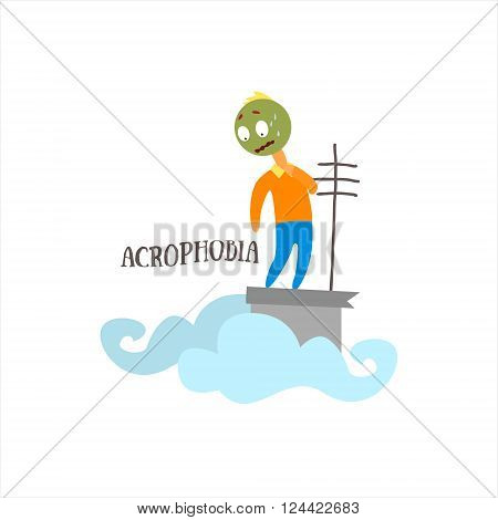 Acrophobia  Simplified Design Flat Vector Illustration On White Background