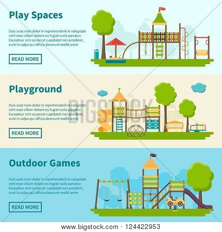 Horizontal color banners with title and information field about playgrounds for outdoor games vector illustration