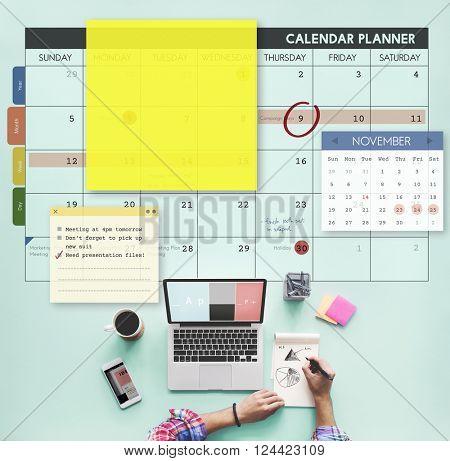 Calendar Planner Planning Organiser Note Concept
