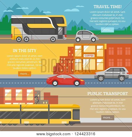 Transport for city and travel banners with tram cars building highway roads mountain landscape isolated vector illustration