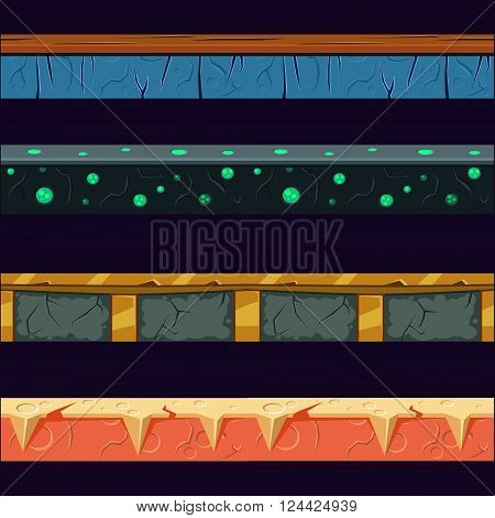 Alien Planet Platformer Level Floor Design Set  In 2-d Vector Looped Pattern