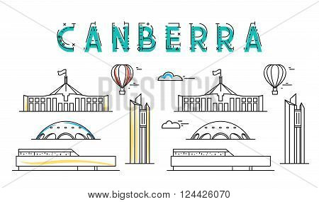 Canberra. Capital city of Australia. Sights of the capital of Australia. Stylized city. Tourist advertising. Advertising template for travel agents.  landing page for the tour operator. poster