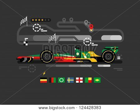 Motorsport Formula One. F1 Speed Sport Car Race, Fast Championship, Motor Track Competition, Vector