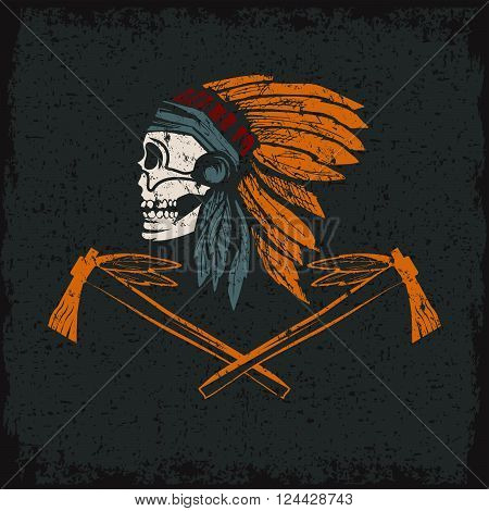 Native American chief skull in tribal headdress with tomahawks poster