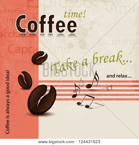 Coffee background abstract with Coffee Break slogan