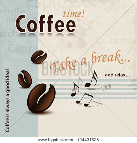 Retro coffee background with Take A Break and Coffee Time words