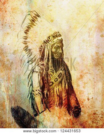 drawing of native american indian foreman Sitting Bull - Totanka Yotanka according historic photography, with beautiful feather headdress