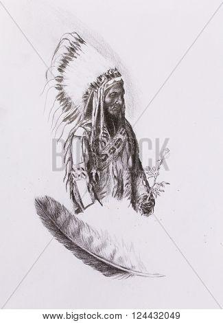 drawing of native american indian foreman Sitting Bull - Totanka Yotanka according historic photography, with beautiful feather headdress, holding rose flower
