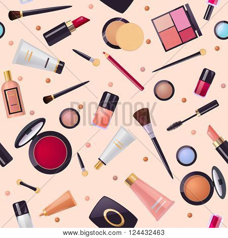 Cosmetics pattern with make up product: lipstick, mascara, brushes,  perfume, skin cream,  nail polish, Vector seamless background