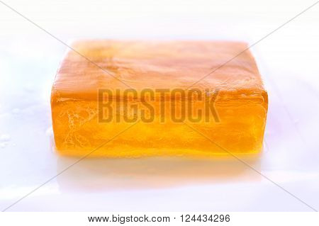 Orange Bar of Glycerin Face Soap Isolated on White