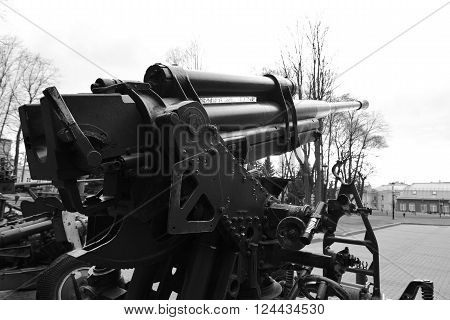Soviet anti-aircraft gun of the Second World War in St.Petersburg Russia. Black and white.