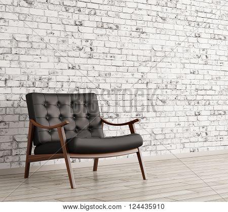 Black Armchair Against Of Brick Wall 3D Rendering
