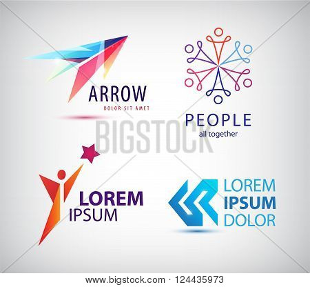 Vector set of abstract logo design, arrow logo, man, winner logo, people group logo, team family logo. Business identity template