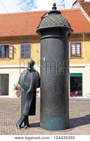 CROATIA ZAGREB 19 MAY 2014: Statue of August Senoa famous Croatian novelist storyteller and poet in Vlaska street Zagreb Croatia