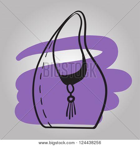 Woman Handbag Hand Drawn Vector Fashion Illustration .