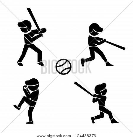 Set of baseball icons in silhouette style vector icons