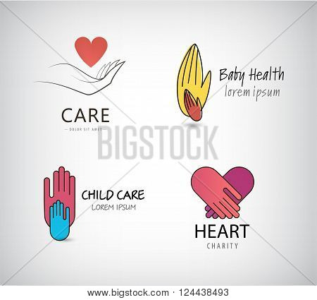 Vector set of hand logos, care logos, charity logos. Hand holding heart, kids help, child care logos, small and big hand